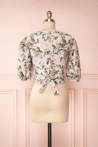 Leonore Floral Crop Top | Haut Écourté back view | Boutique 1861