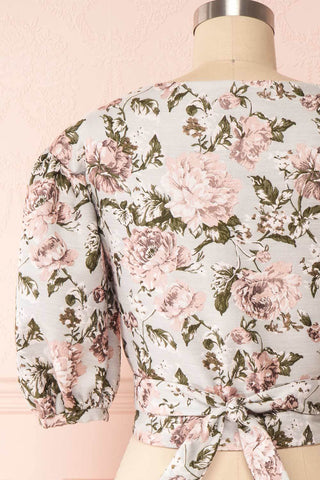 Leonore Floral Crop Top | Haut Écourté back close up | Boutique 1861