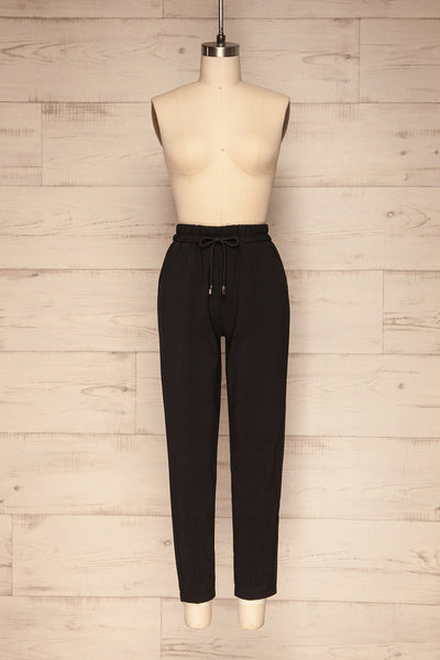 Leporis Black Lightweight Straight Leg Pants | La Petite Garçonne front view