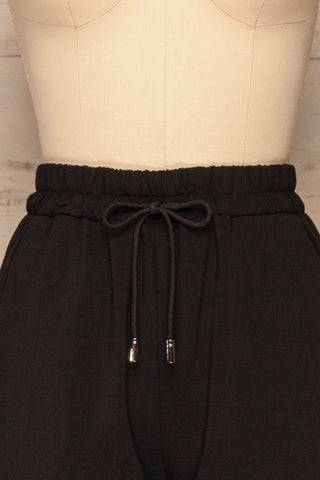 Leporis Black Lightweight Straight Leg Pants | La Petite Garçonne front close-up