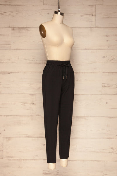 Leporis Black Lightweight Straight Leg Pants | La Petite Garçonne side view