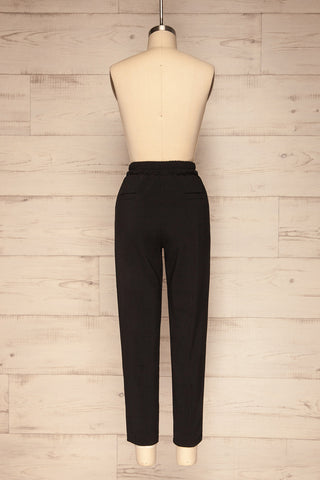 Leporis Black Lightweight Straight Leg Pants | La Petite Garçonne back view