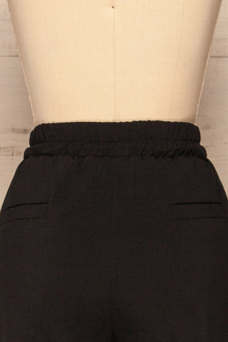 Leporis Black Lightweight Straight Leg Pants | La Petite Garçonne back close-up