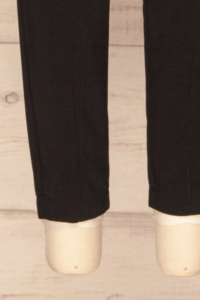Leporis Black Lightweight Straight Leg Pants | La Petite Garçonne bottom close-up