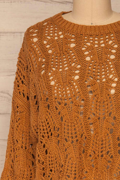 Lesko Brown Crochet Knit Top | La petite garçonne  front close-up