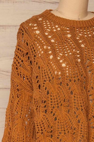 Lesko Brown Crochet Knit Top | La petite garçonne  side close-up