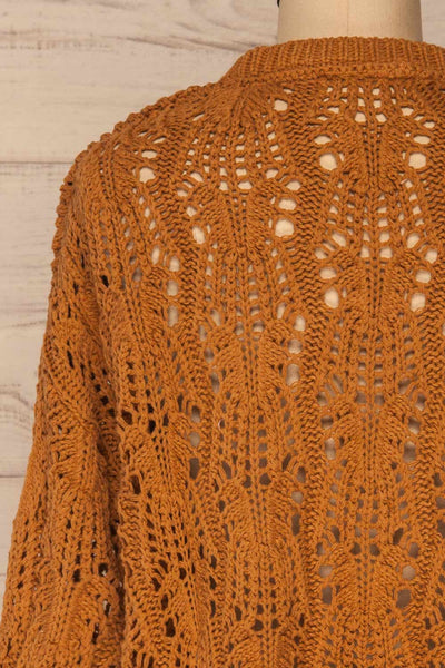 Lesko Brown Crochet Knit Top | La petite garçonne  back close-up