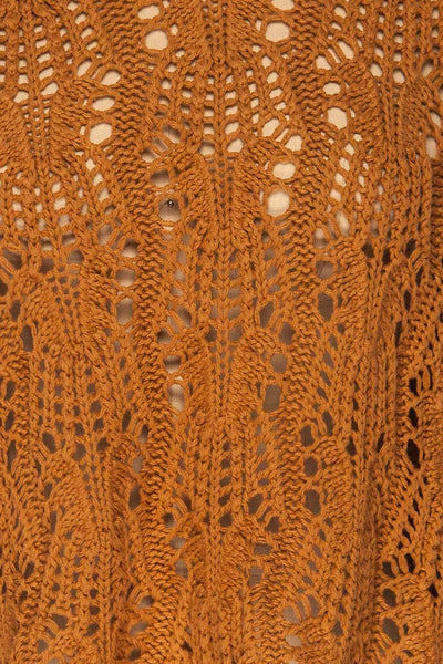 Lesko Brown Crochet Knit Top | La petite garçonne  fabric