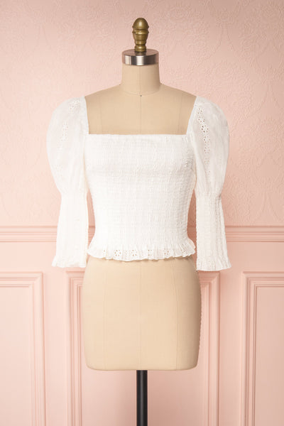 Leskovac White 3/4 Sleeve Openwork Crop Top front view | Boutique 1861