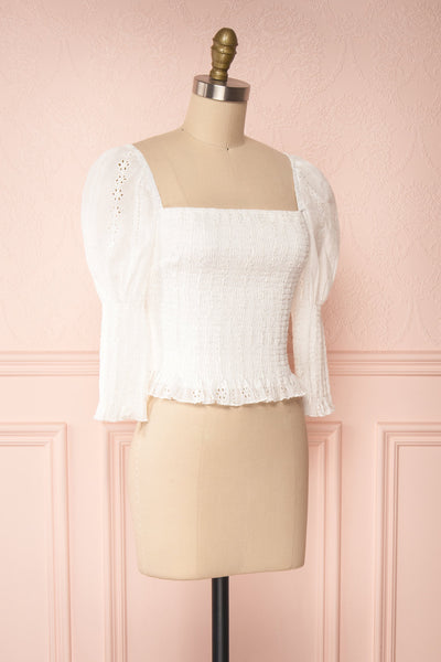 Leskovac White 3/4 Sleeve Openwork Crop Top side view | Boutique 1861