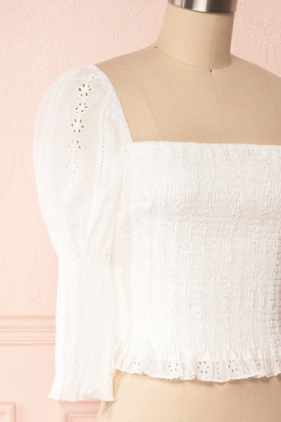 Leskovac White 3/4 Sleeve Openwork Crop Top side close up | Boutique 1861