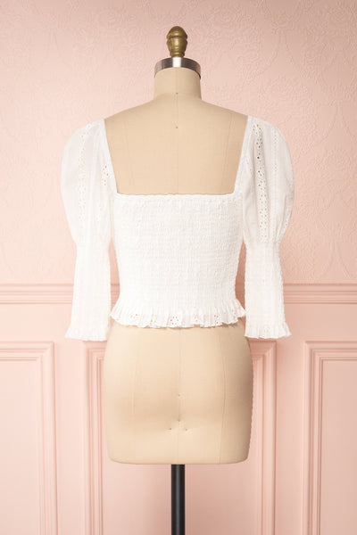 Leskovac White 3/4 Sleeve Openwork Crop Top back view | Boutique 1861