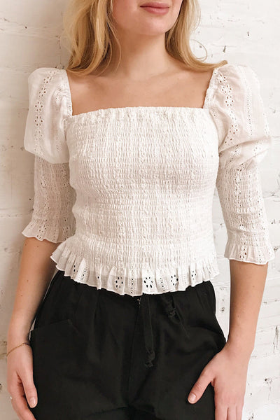Leskovac White 3/4 Sleeve Openwork Crop Top | Boutique 1861 on model