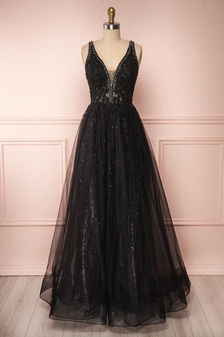 Letha Black Tulle & Beaded Gown | Robe Maxi | Boutique 1861