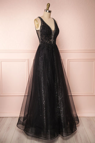 Letha Black Tulle & Beaded Gown | Robe Maxi side view | Boutique 1861