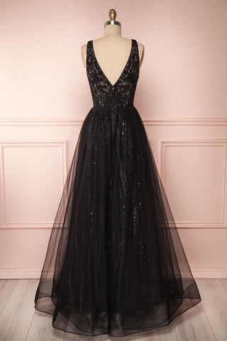Letha Black Tulle & Beaded Gown | Robe Maxi back view | Boutique 1861