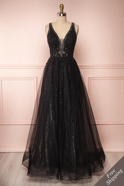Letha Black Tulle & Beaded Gown | Robe Maxi front FS | Boutique 1861