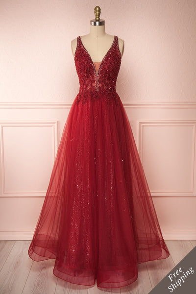 Letha Wine Tulle & Beaded Gown | Robe Maxi front view FS | Boutique 1861