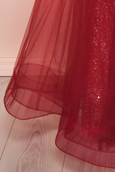 Letha Wine Tulle & Beaded Gown | Robe Maxi skirt | Boutique 1861