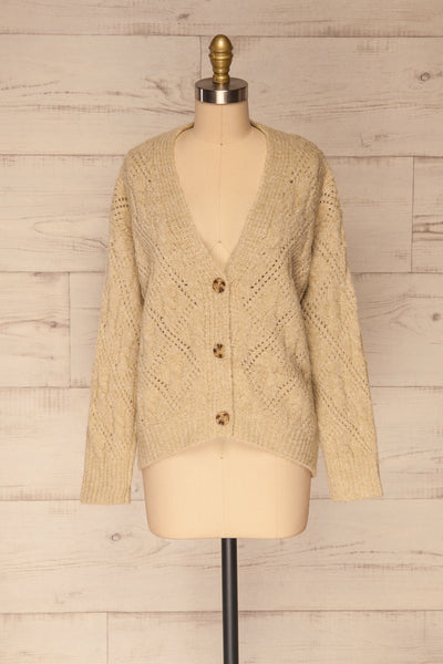 Lewin Beige Button-Up Cardigan | La petite garçonne front view
