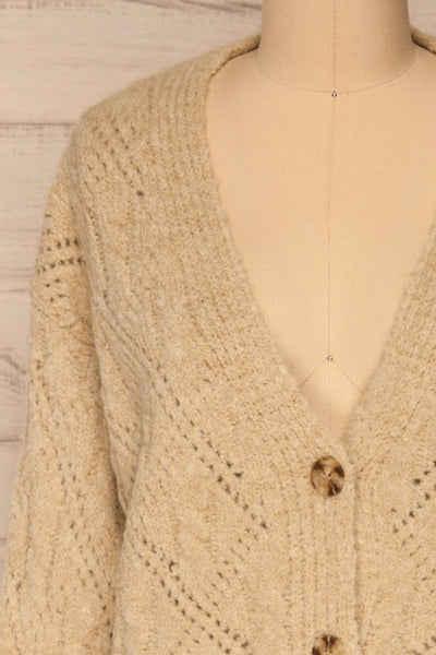Lewin Beige Button-Up Cardigan | La petite garçonne front close-up