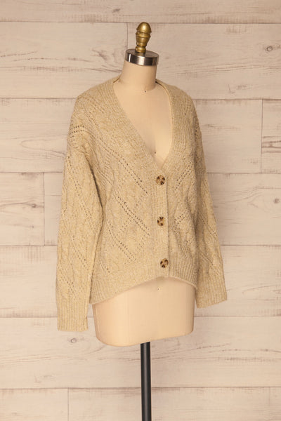 Lewin Beige Button-Up Cardigan | La petite garçonne side view