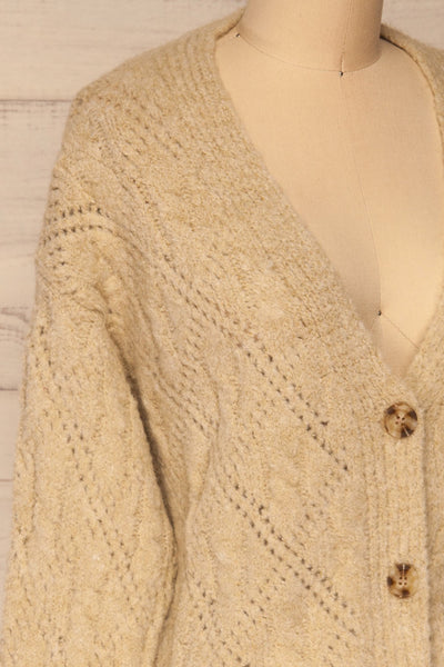Lewin Beige Button-Up Cardigan | La petite garçonne side close-up