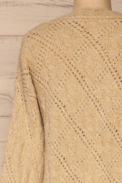 Lewin Beige Button-Up Cardigan | La petite garçonne back close-up