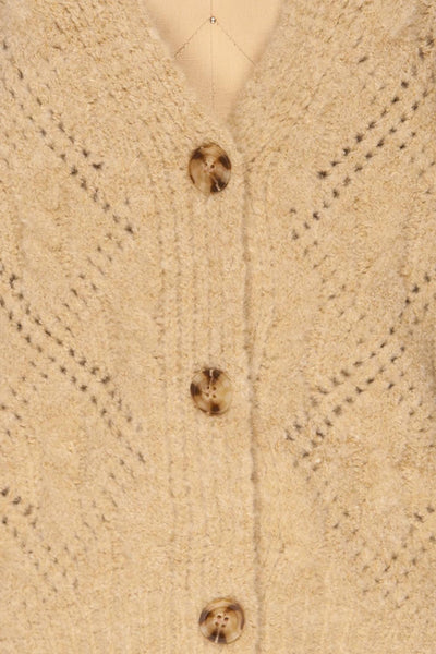 Lewin Beige Button-Up Cardigan | La petite garçonne fabric
