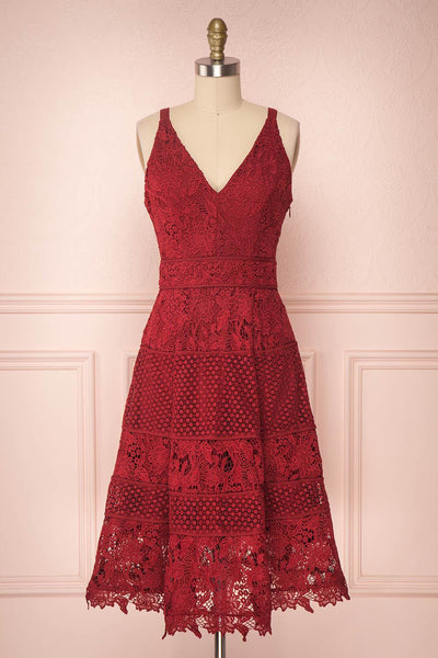 Leyina Burgundy Lace A-Line Cocktail Dress | Boutique 1861
