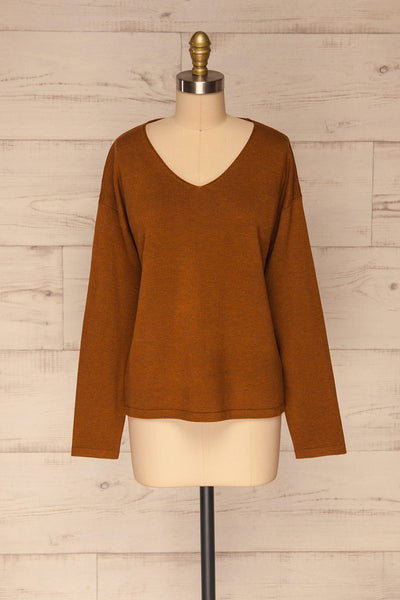 Lezajask Brown Long Sleeve Top | La petite garçonne front view