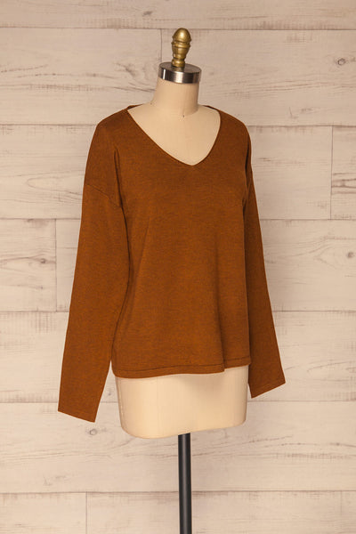 Lezajask Brown Long Sleeve Top | La petite garçonne side view