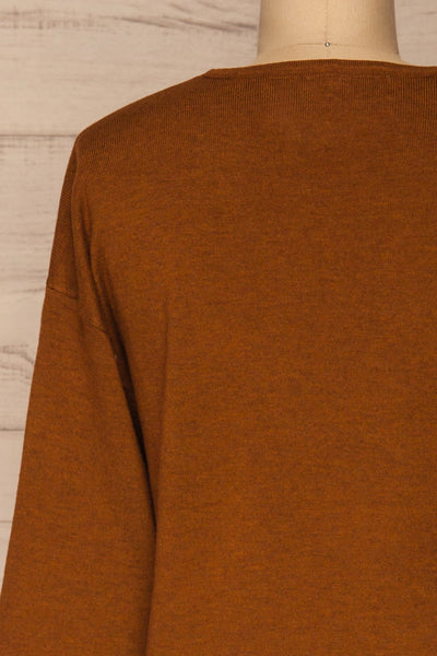 Lezajask Brown Long Sleeve Top | La petite garçonne back close-up