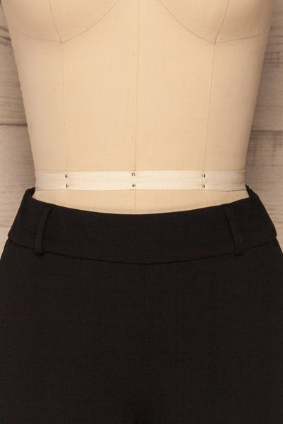 Lieksa Black Bermuda Shorts w/ Pockets | La petite garçonne front close-up