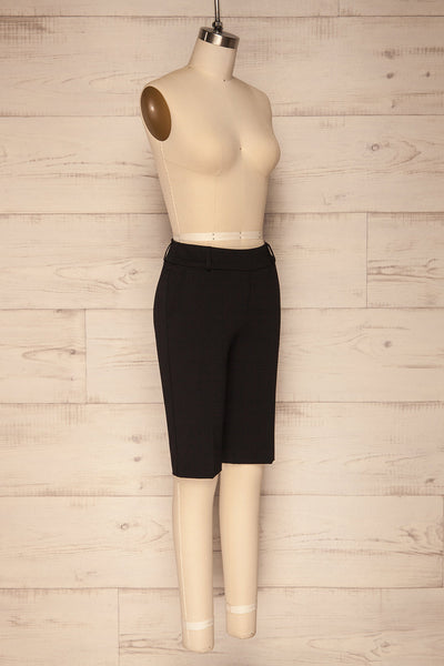 Lieksa Black Bermuda Shorts w/ Pockets | La petite garçonne side view