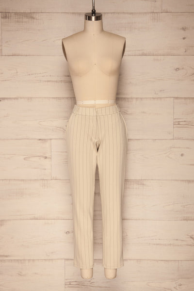 Lillesand Cream Thin Stripes Fitted Pants | La petite garçonne front view