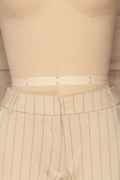 Lillesand Cream Thin Stripes Fitted Pants | La petite garçonne front close-up
