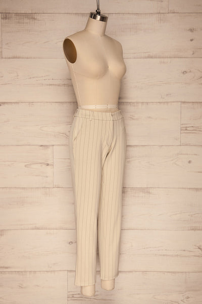 Lillesand Cream Thin Stripes Fitted Pants | La petite garçonne side view