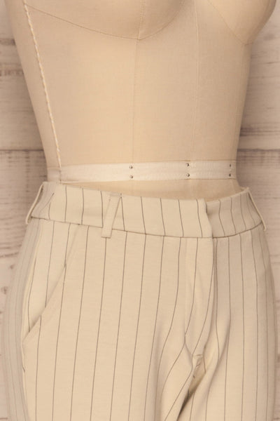 Lillesand Cream Thin Stripes Fitted Pants | La petite garçonne side close-up
