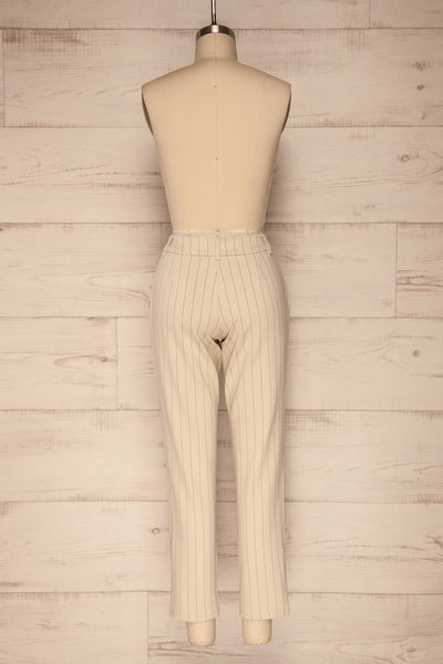 Lillesand Cream Thin Stripes Fitted Pants | La petite garçonne back view