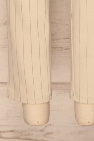 Lillesand Cream Thin Stripes Fitted Pants | La petite garçonne bottom close-up