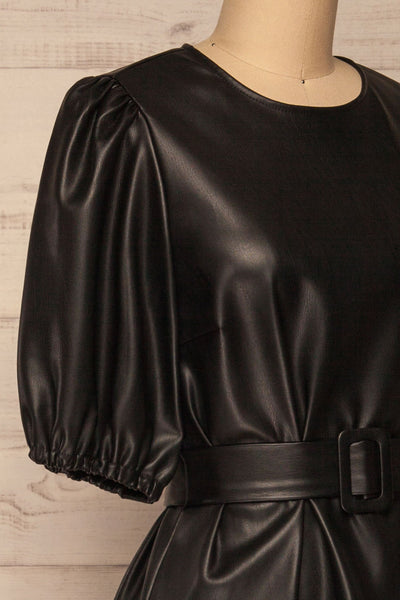 Limassol Black Faux-Leather Short Dress | La petite garçonne  side close-up