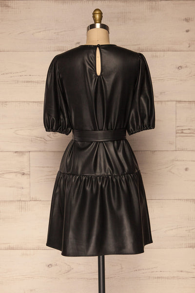 Limassol Black Faux-Leather Short Dress | La petite garçonne  back view