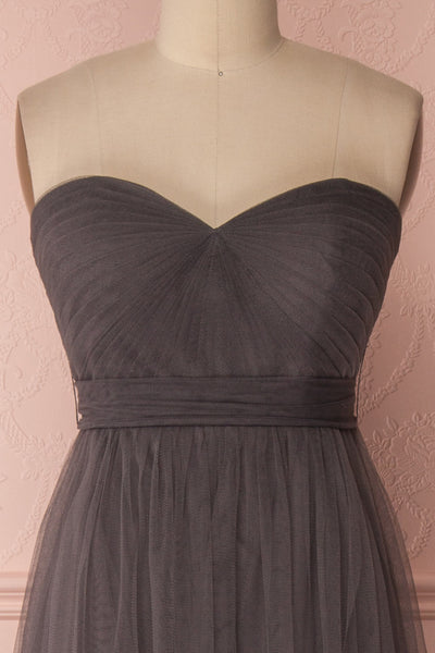Linaya Charcoal Draped Bustier Empire Gown | Boudoir 1861