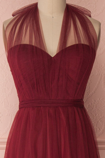 Linaya Deep Red Burgundy Draped Bustier Empire Gown | Boudoir 1861