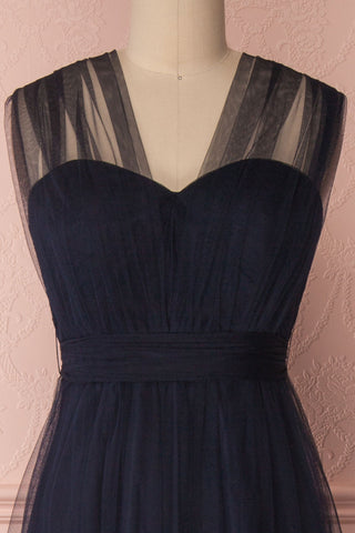 Linaya Navy Draped Bustier Empire Gown | Boudoir 1861