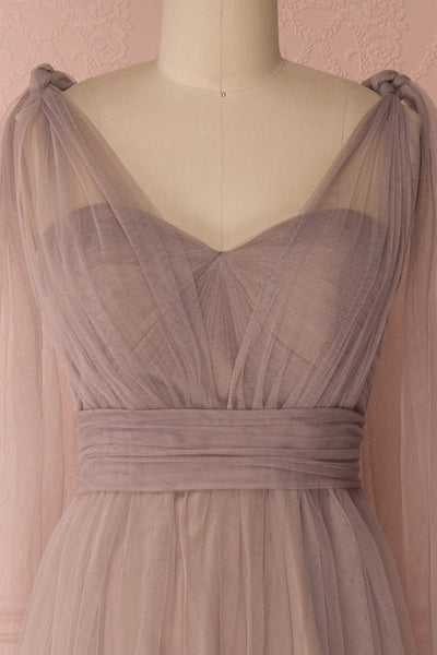 Linaya Sand Taupe Draped Bustier Empire Gown | Boudoir 1861