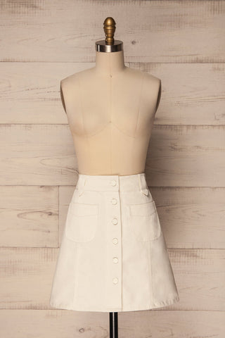Lindos Vanille White Denim Button-Up Mini Skirt | La Petite Garçonne