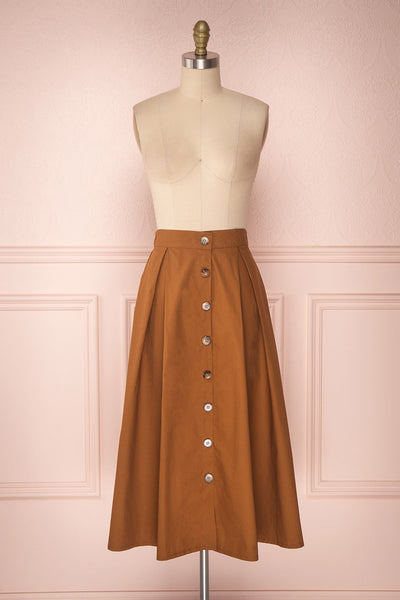 Linor Brown Button-Up High Waisted Skirt | Boutique 1861 1