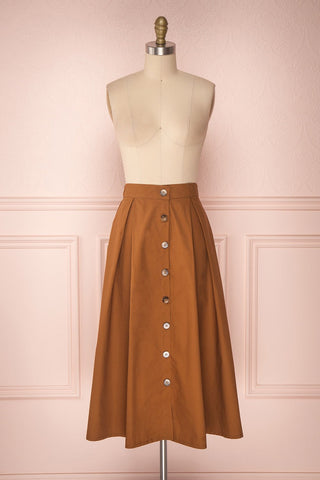 Linor Brown Button-Up High Waisted Skirt | Boutique 1861